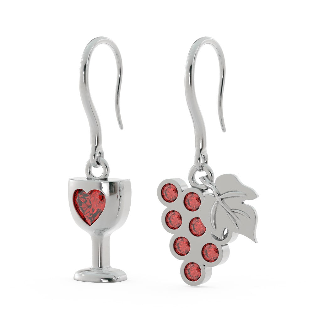 Red Wine and Grapes Earrings