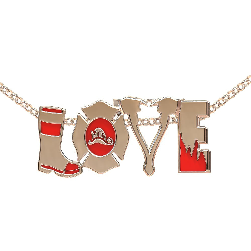 FIRE love Necklace (.925 silver)