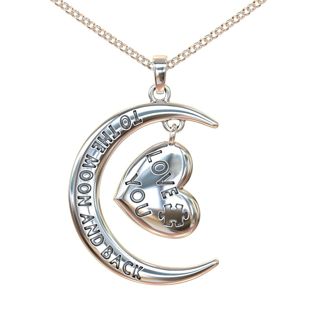Love You To the Moon and Back Autism Necklace Silver or Gold ShineOn