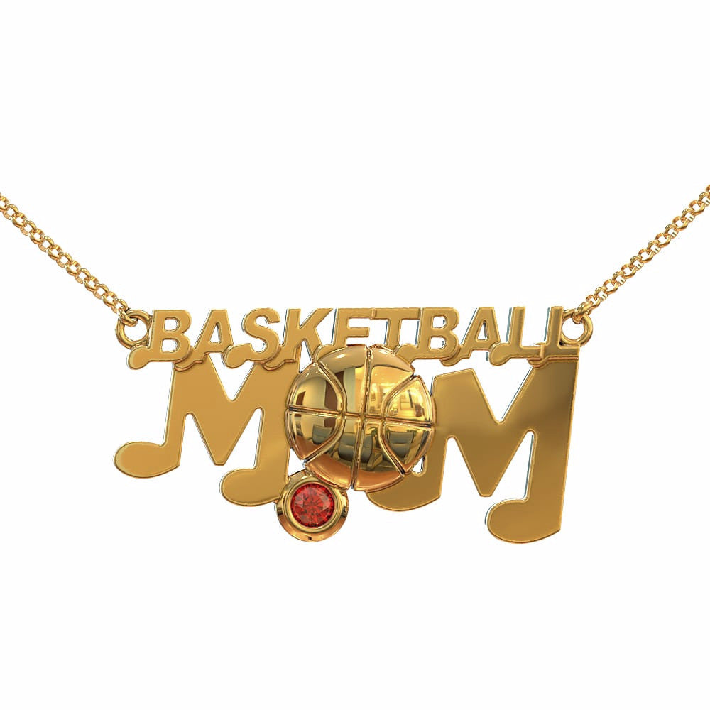 Basketball Mom - Birthstone Necklace