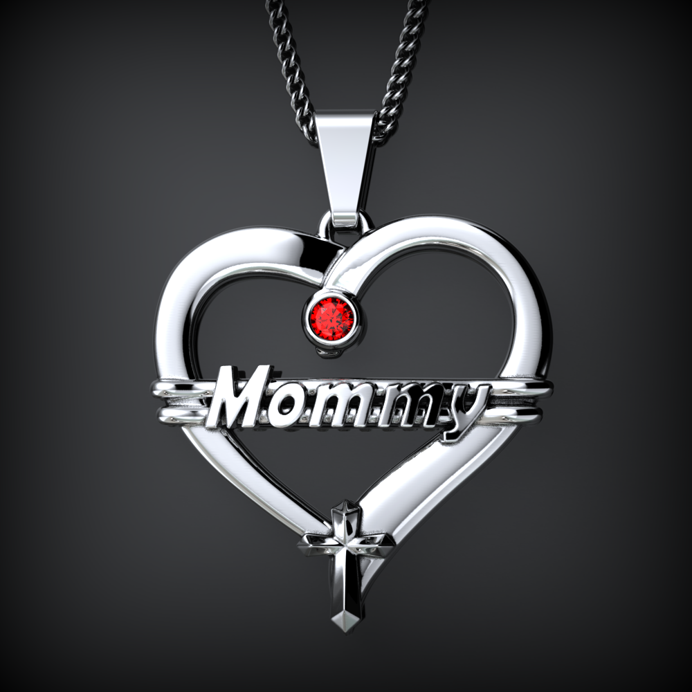 MOMMY Heart Birthstone Necklace
