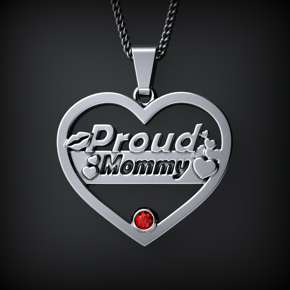 Proud MOMMY Birthstone Necklace
