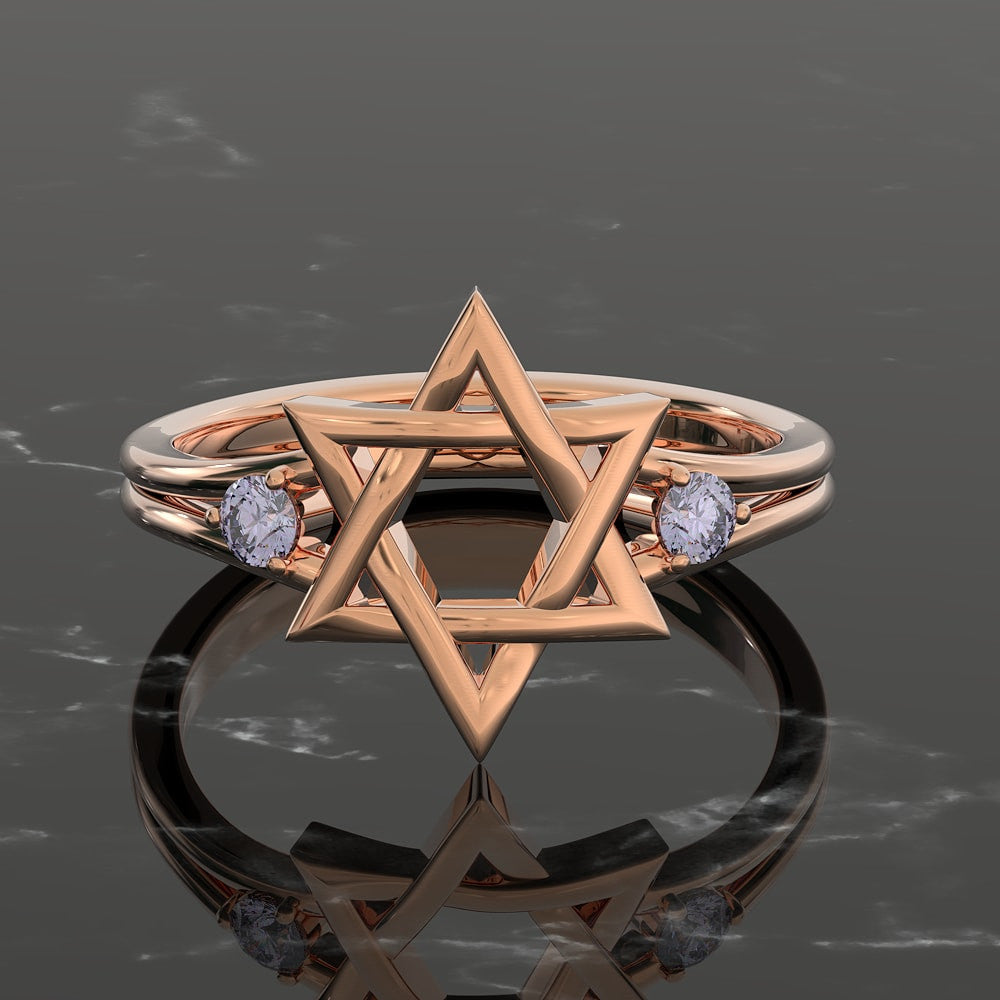 Exquisite 3D Star of David Womens Ring