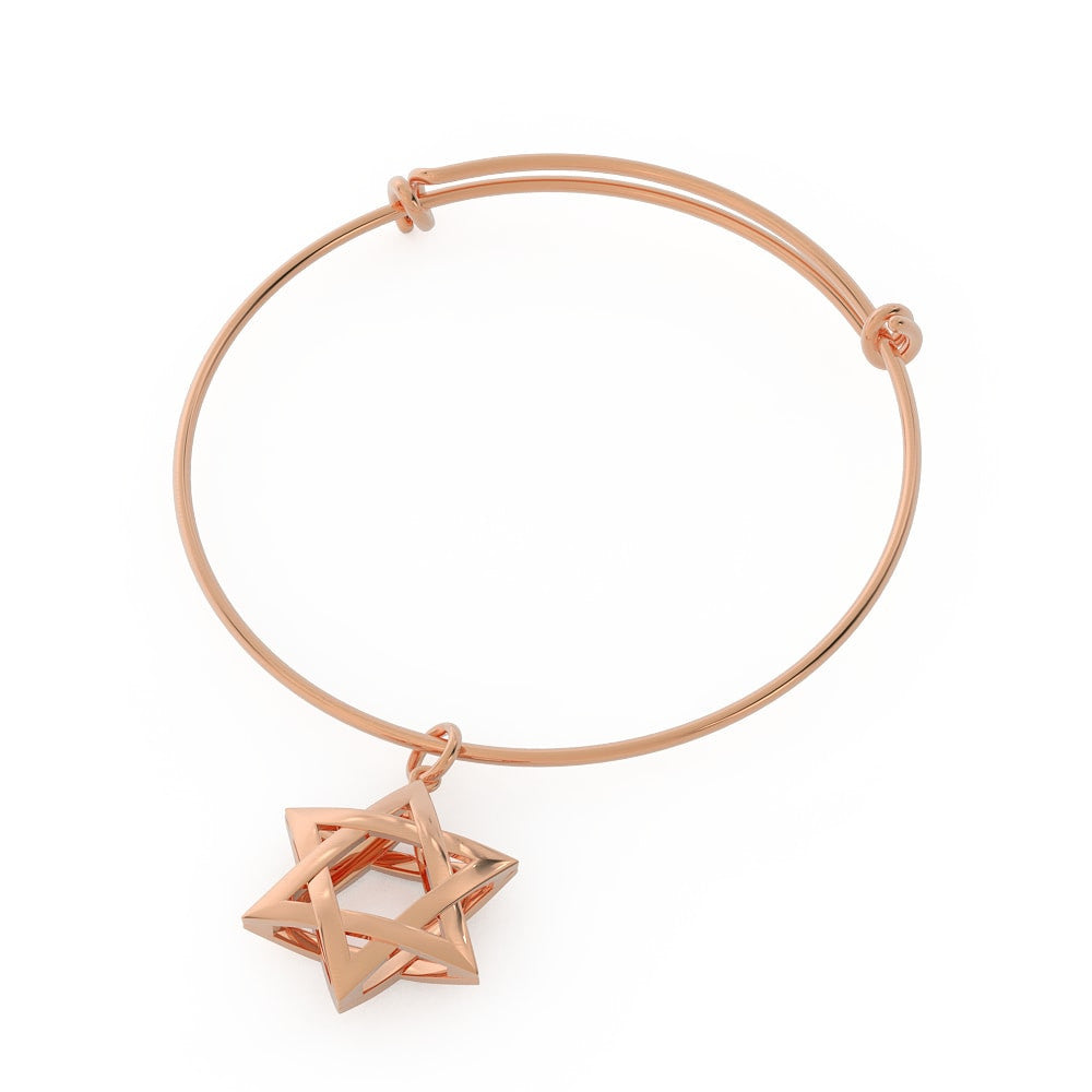 Exquisite 3D Star of David Bangle