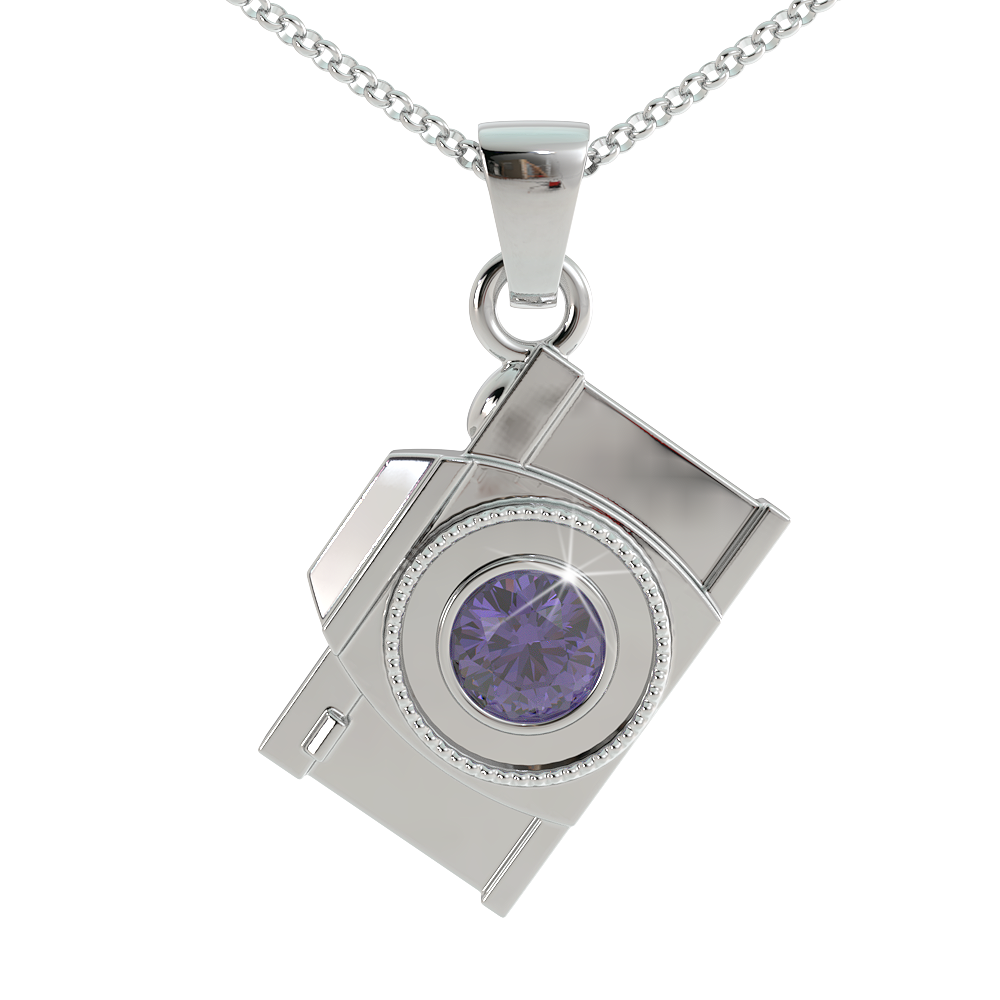 Camera Birthstone Pendant