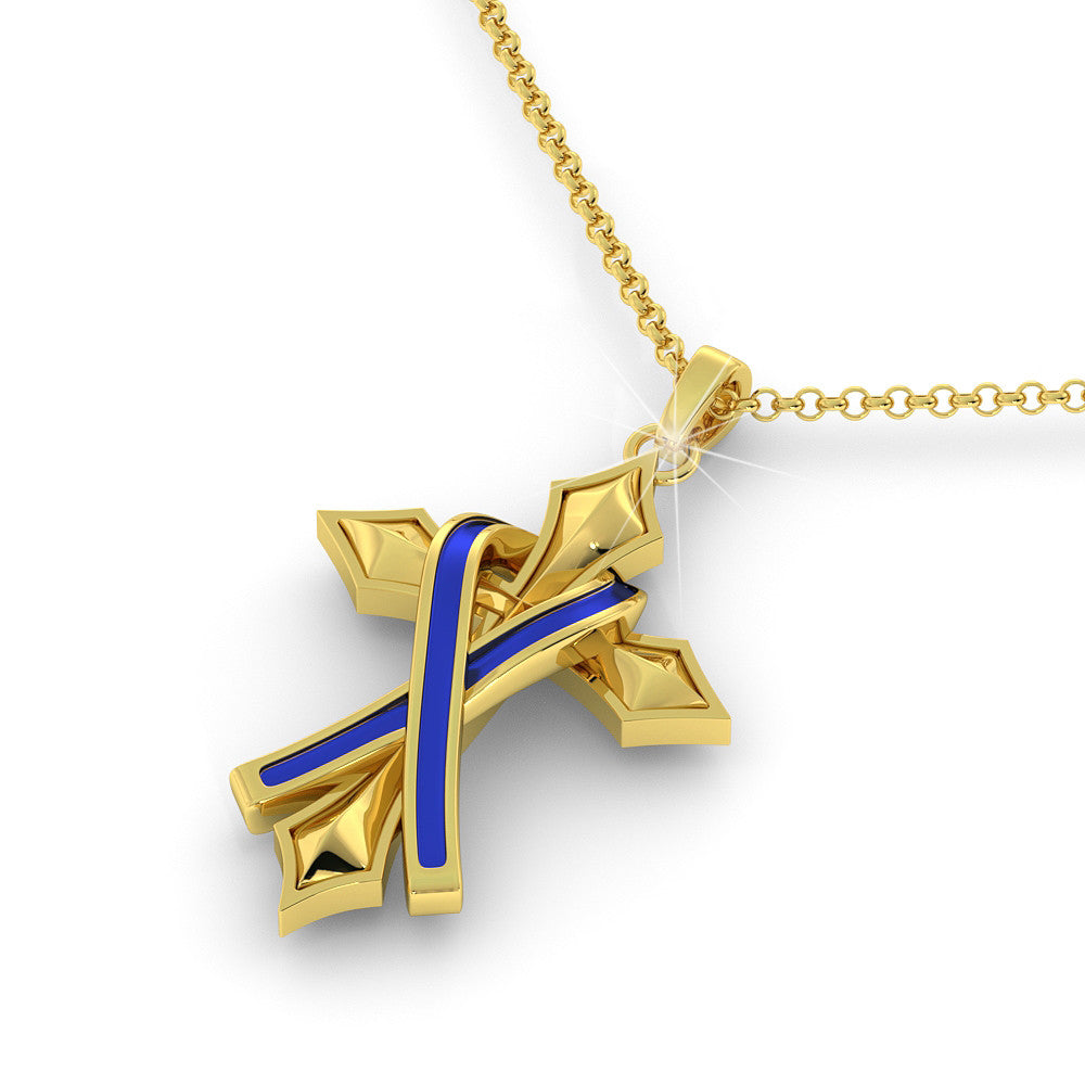 Police Ribbon Cross Pendant