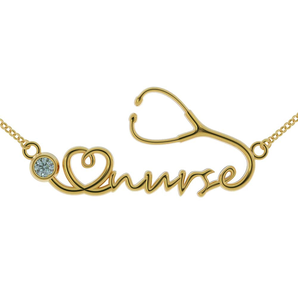 Nurse Necklace (.925 Sterling Silver & 24k Plated Gold)