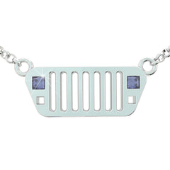 Jeep Girl Square Light Birthstone Necklace