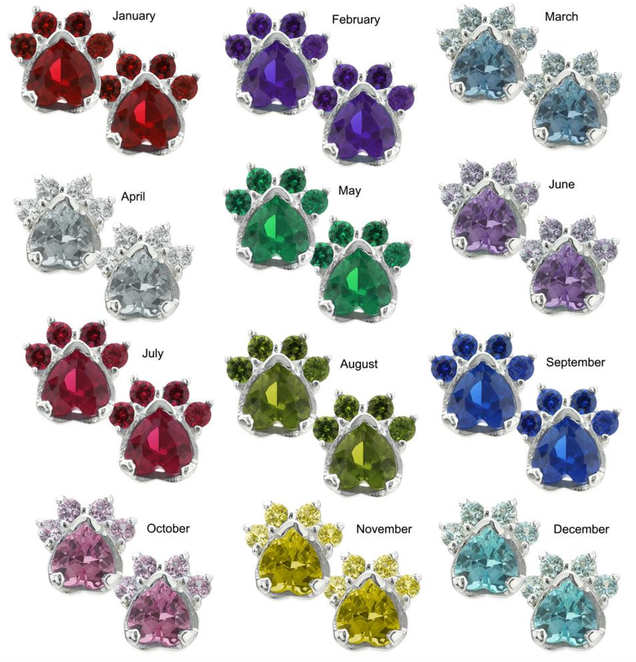 Birthstone Paw Shape Earrings