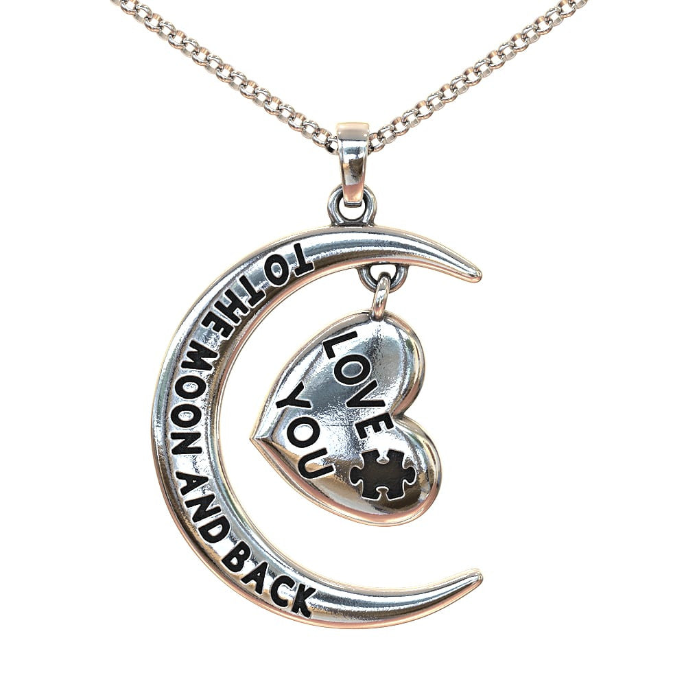 Love You To the Moon and Back Autism Necklace - Silver or Gold