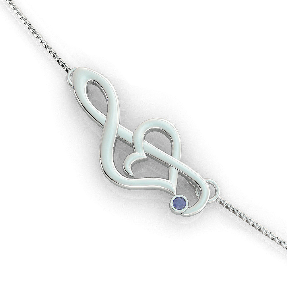 Offset Music Note Birthstone Necklace