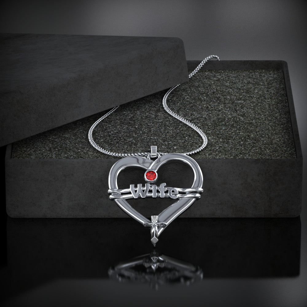 To My WIFE Heart Birthstone Necklace Ends Soon!