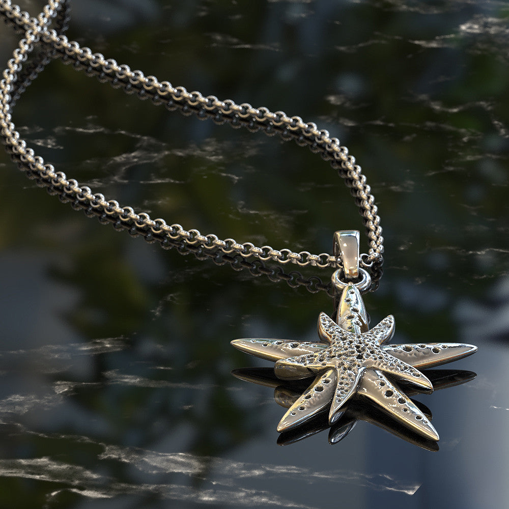 Nautical Starfish Mother and Child Necklace