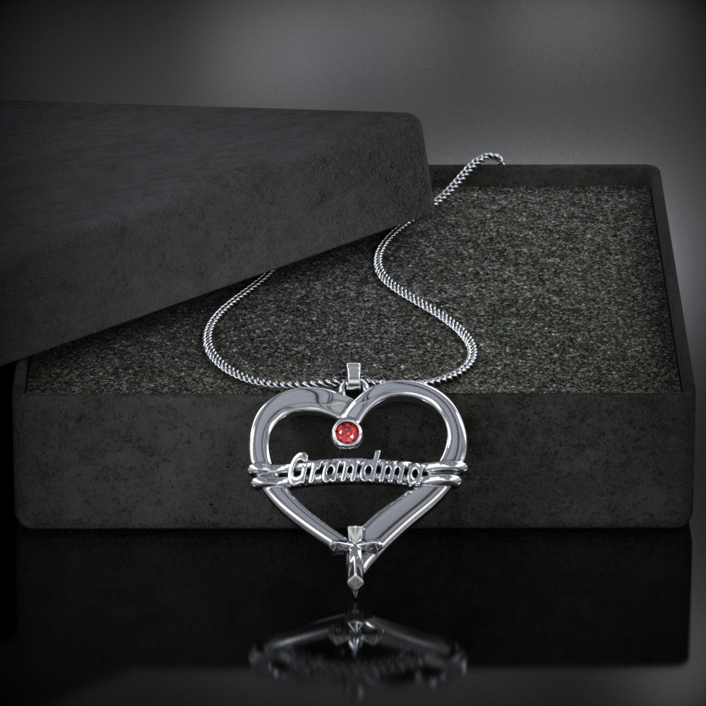 GRANDMA Heart Birthstone Necklace