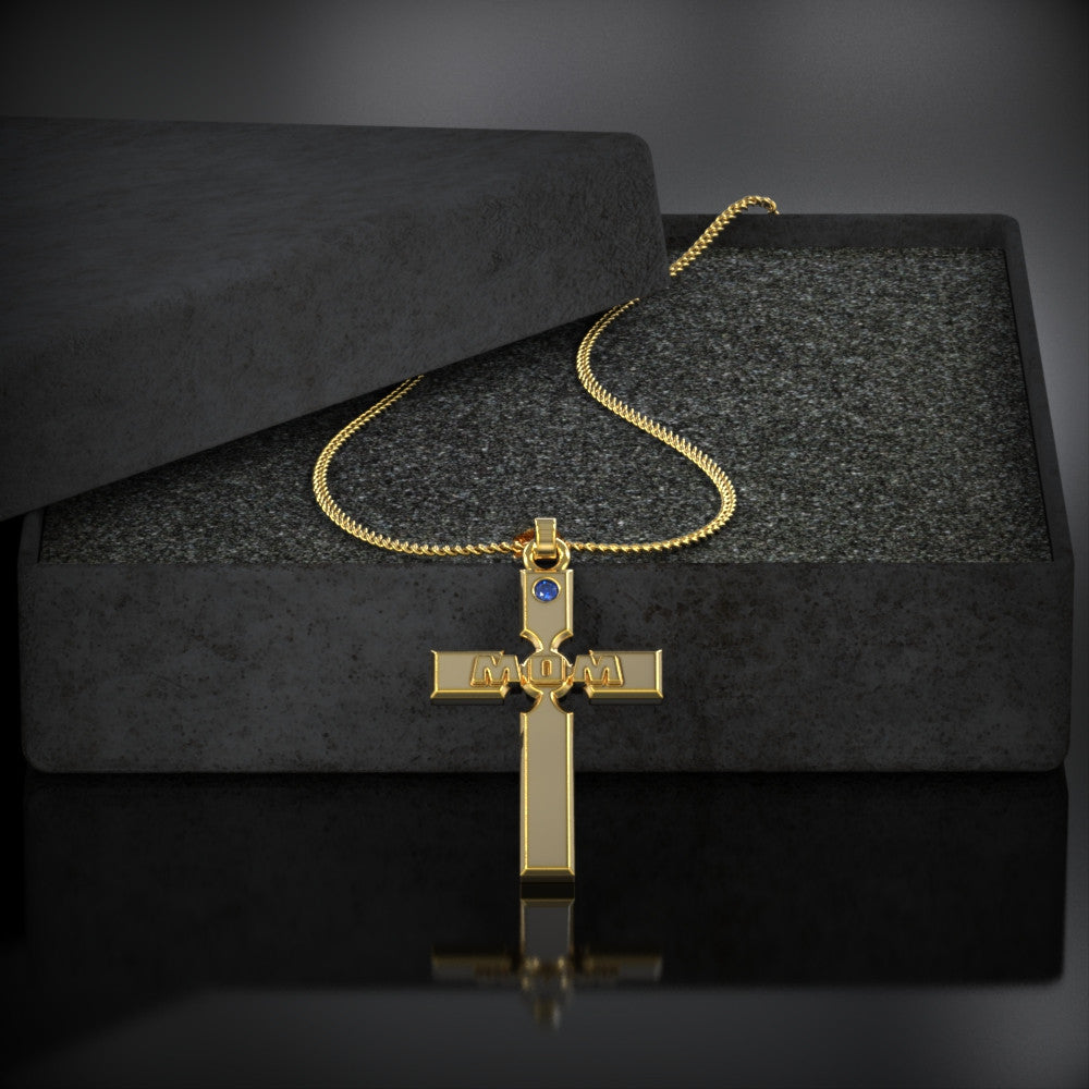 Mom Cross Birthstone Necklace
