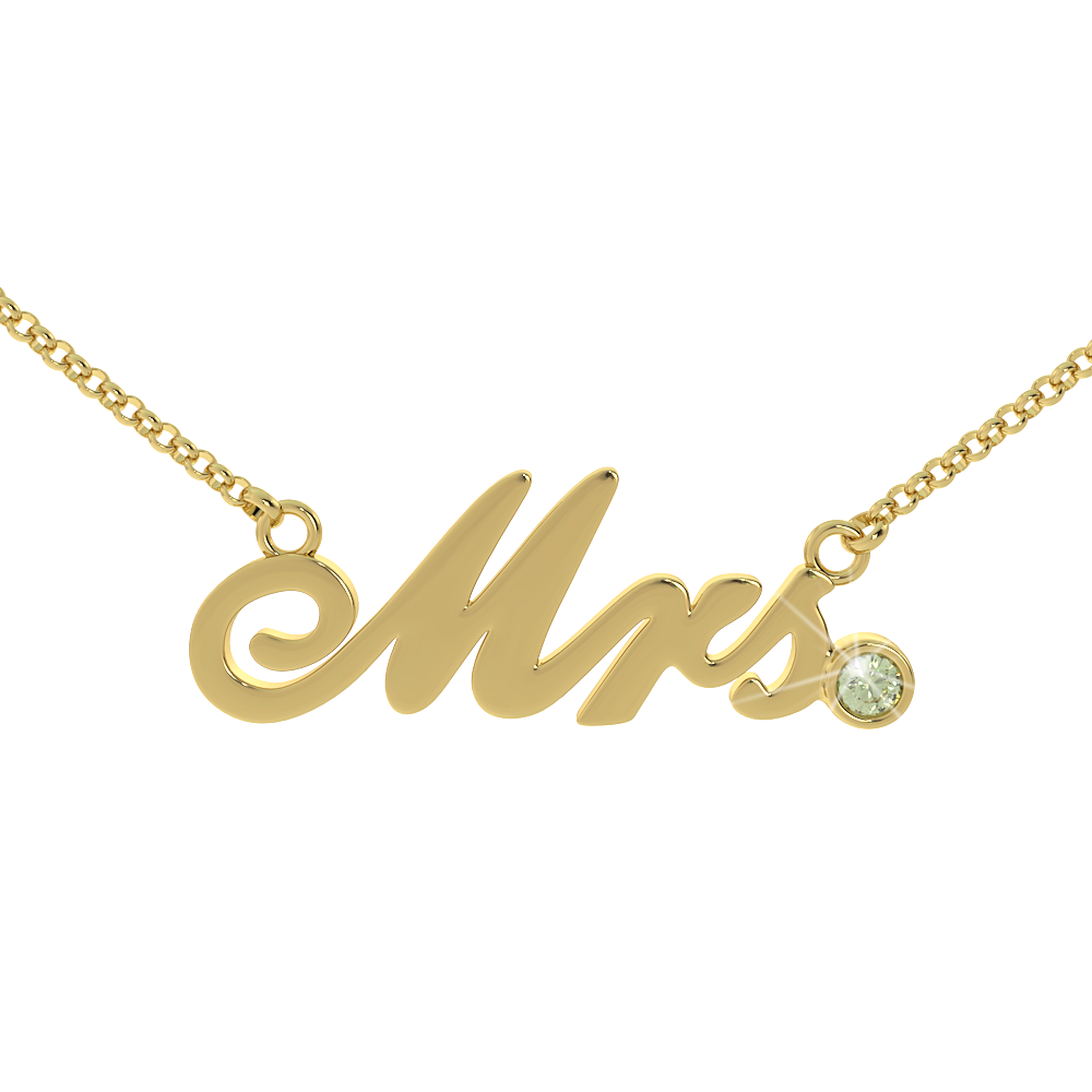 Mrs Birthstone Necklace - (.925 silver)