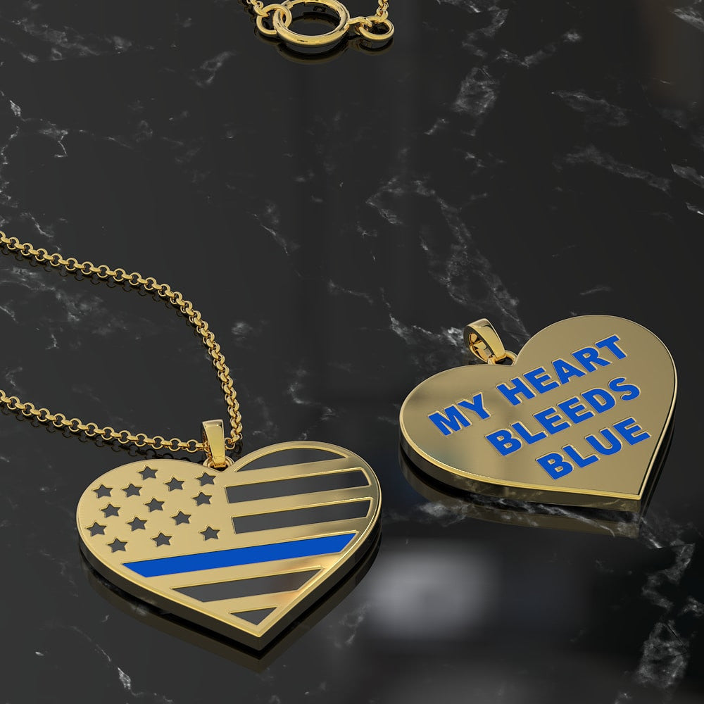 US Flag Heart - Thin Blue Line