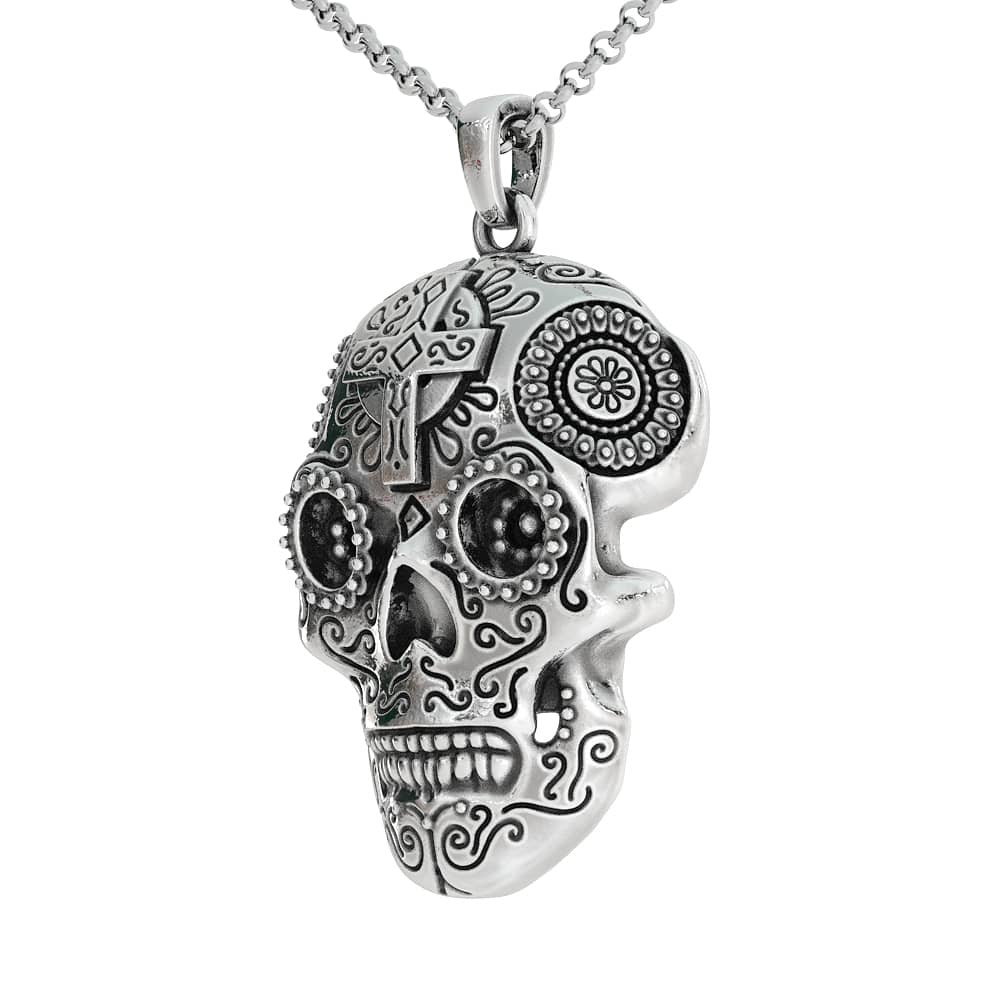 skull sugar pendant tag day silver the of dog sterling mask personalised dead