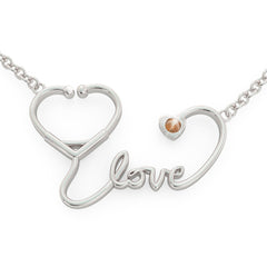 Stethoscope Love - Birthstone Necklace (.925 silver)
