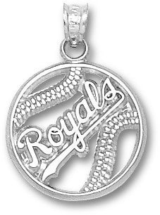 KANSAS CITY ROYALS PIERCED BASEBALL Sterling Silver