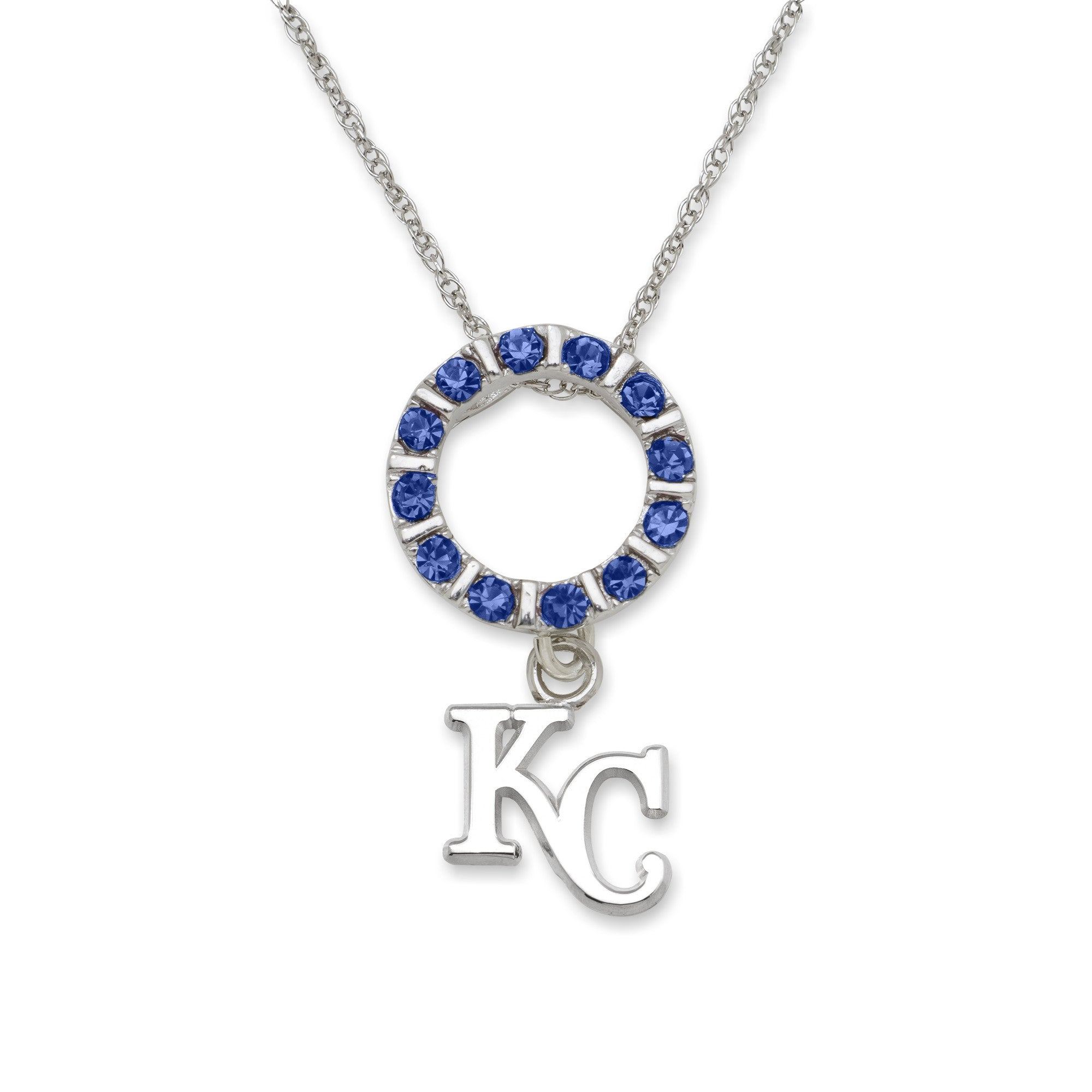 "KANSAS CITY ROYALS ""KC"" 3/8""FAN-TERNITY NECKLACE Sterling Silver"
