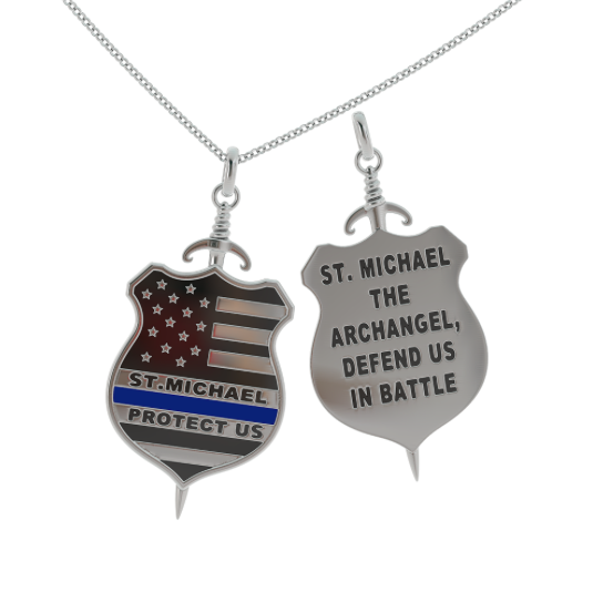 aajujlcyr steel handmade jewelry charm prayer wholesale michael asyb the tag product medal necklaces friendship gift keyring pendant necklace st religious archangel dog stainless
