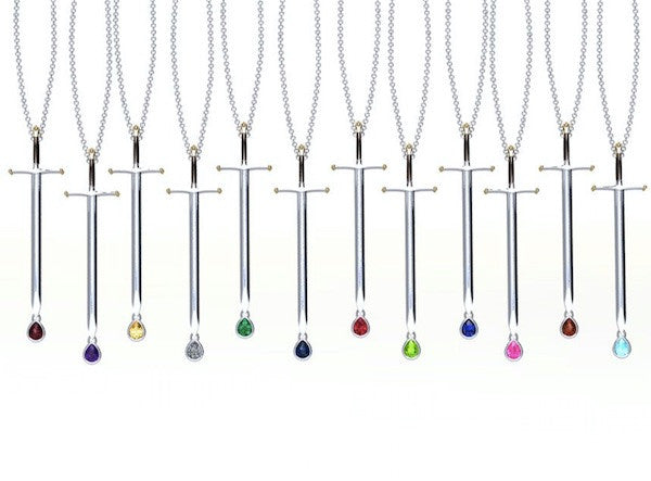Game of Swords- Birthstone Necklace