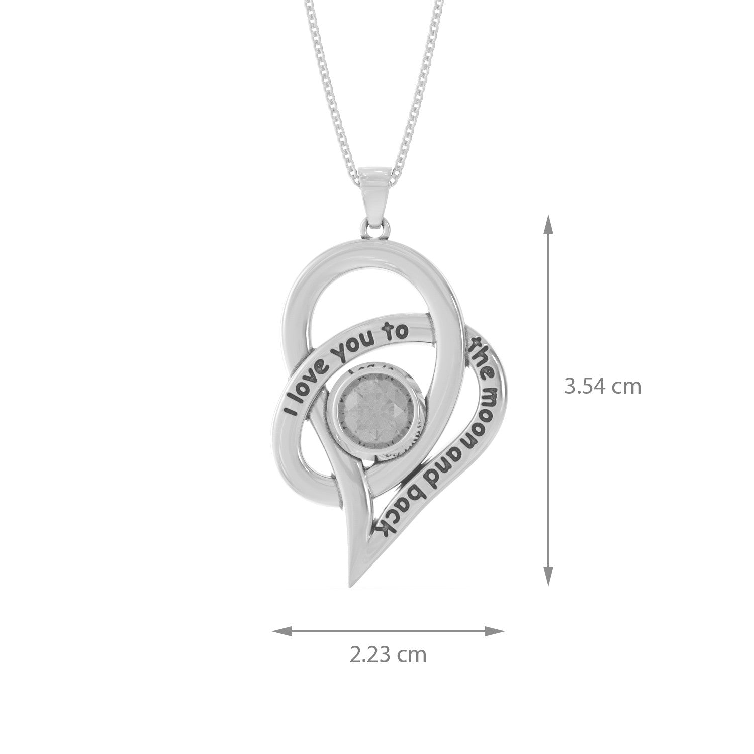 "ALOV Jewelry ""I Love You To The Moon and Back"" Love Heart Necklace"
