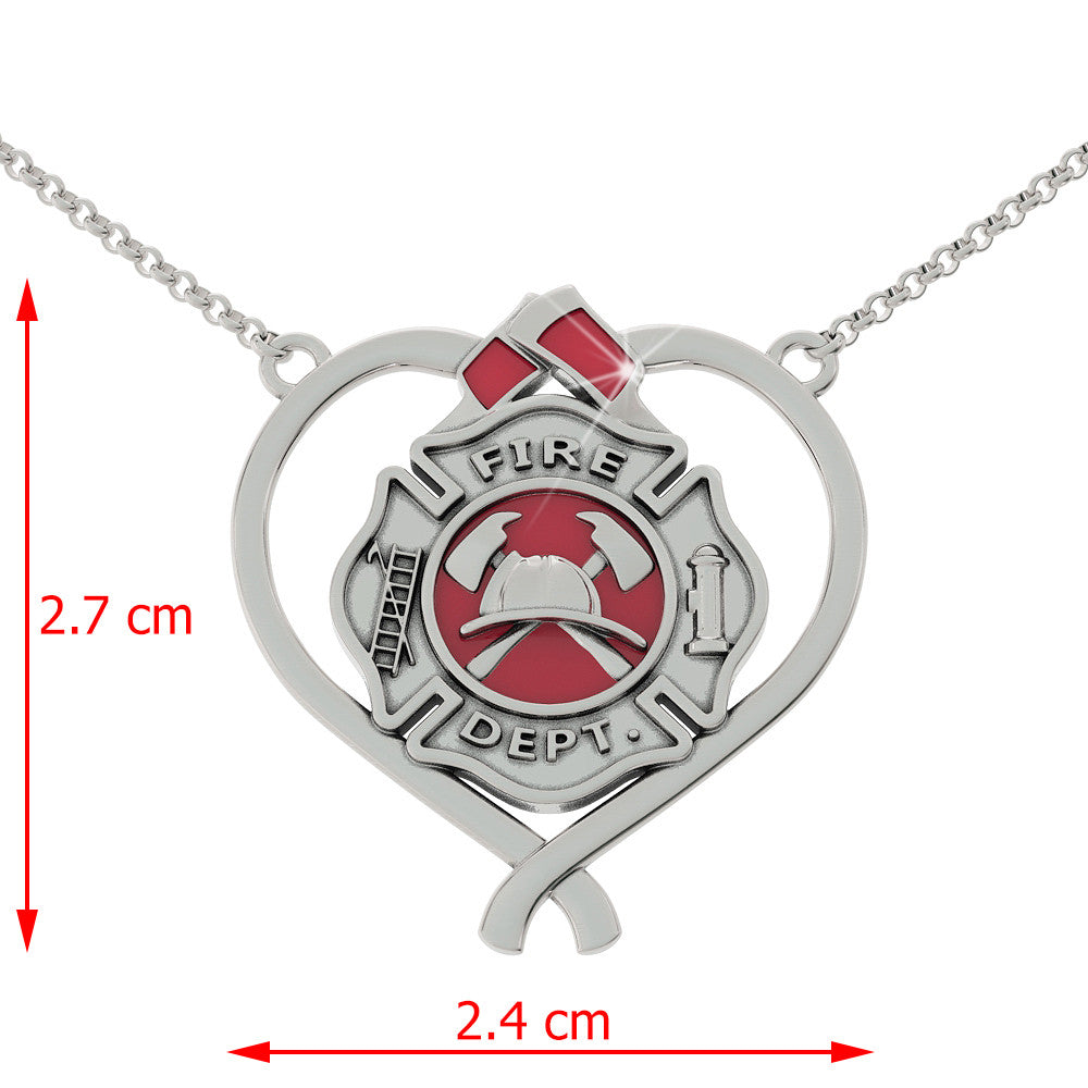 Fire Shield Heart Necklace