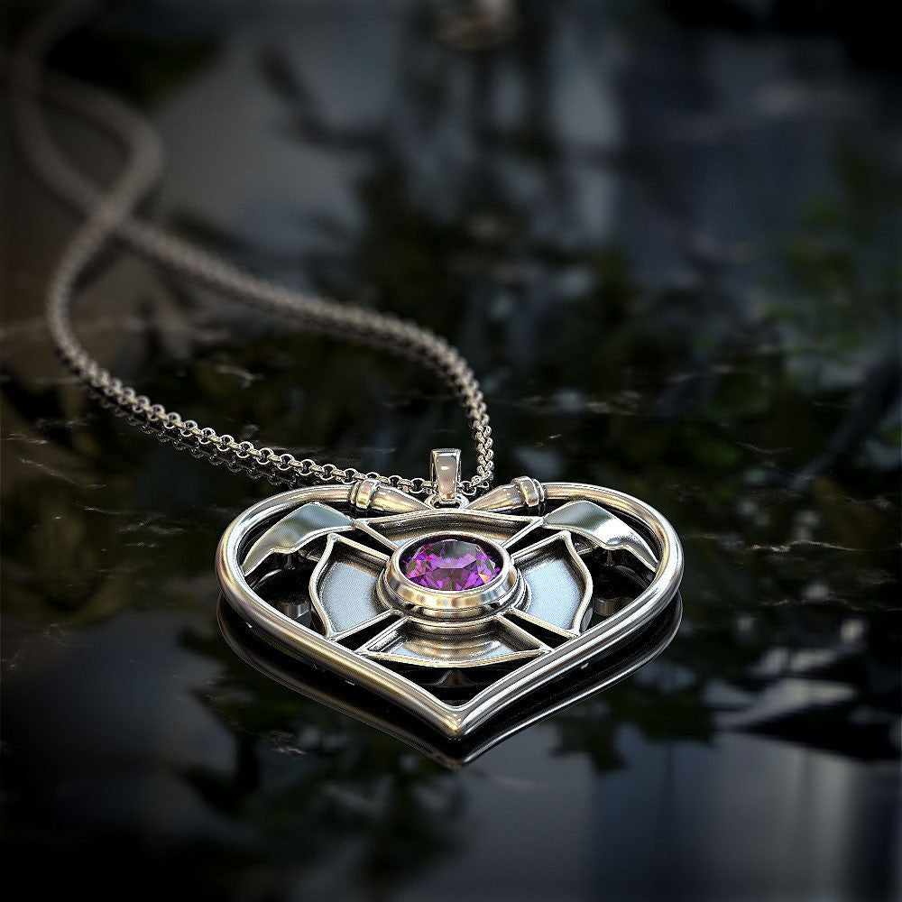 I Love Firefighter Heart with Birthstone Pendant