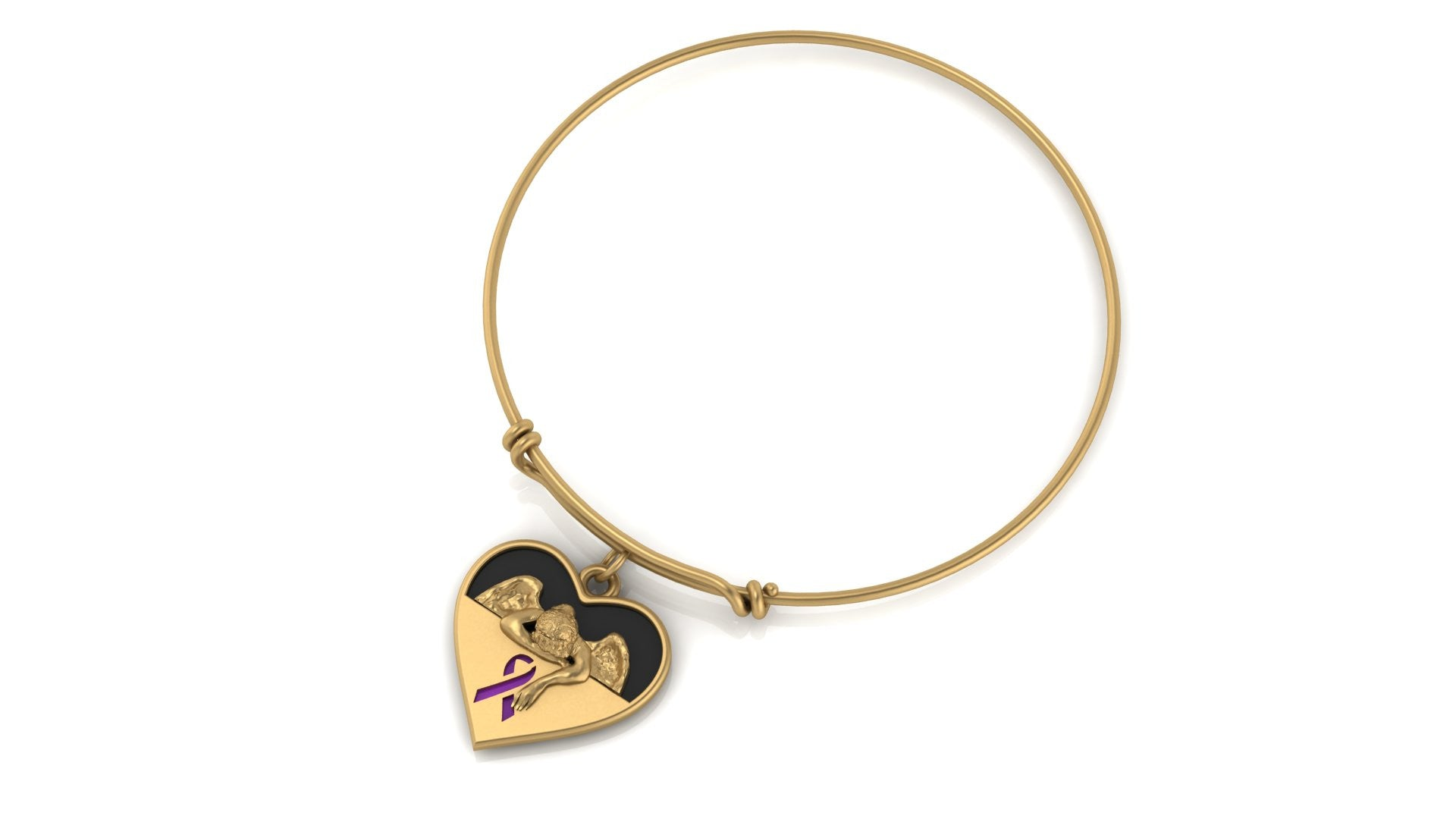 alzheimer ribbon gold bangle s and ffibromyalgia angel awareness bracelet purple shineon products