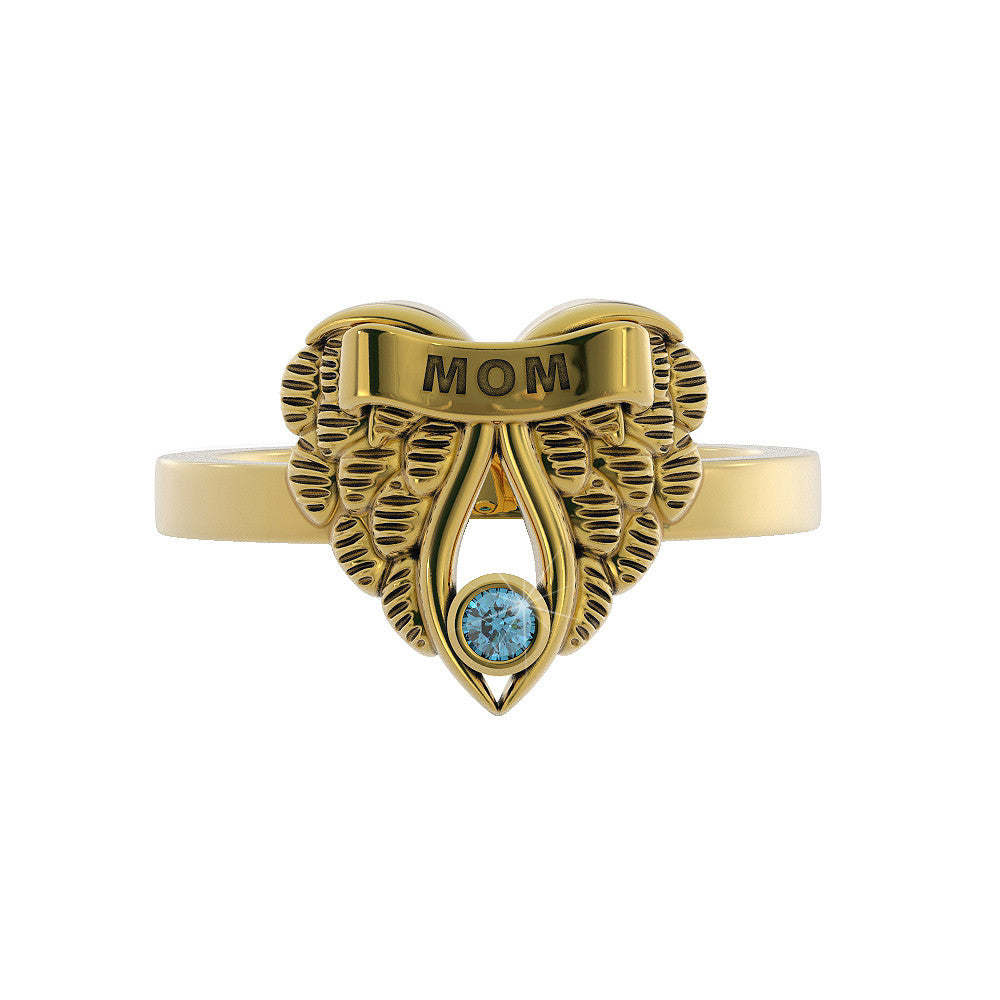 My MOM my Guardian Angel - Birthstone Ring