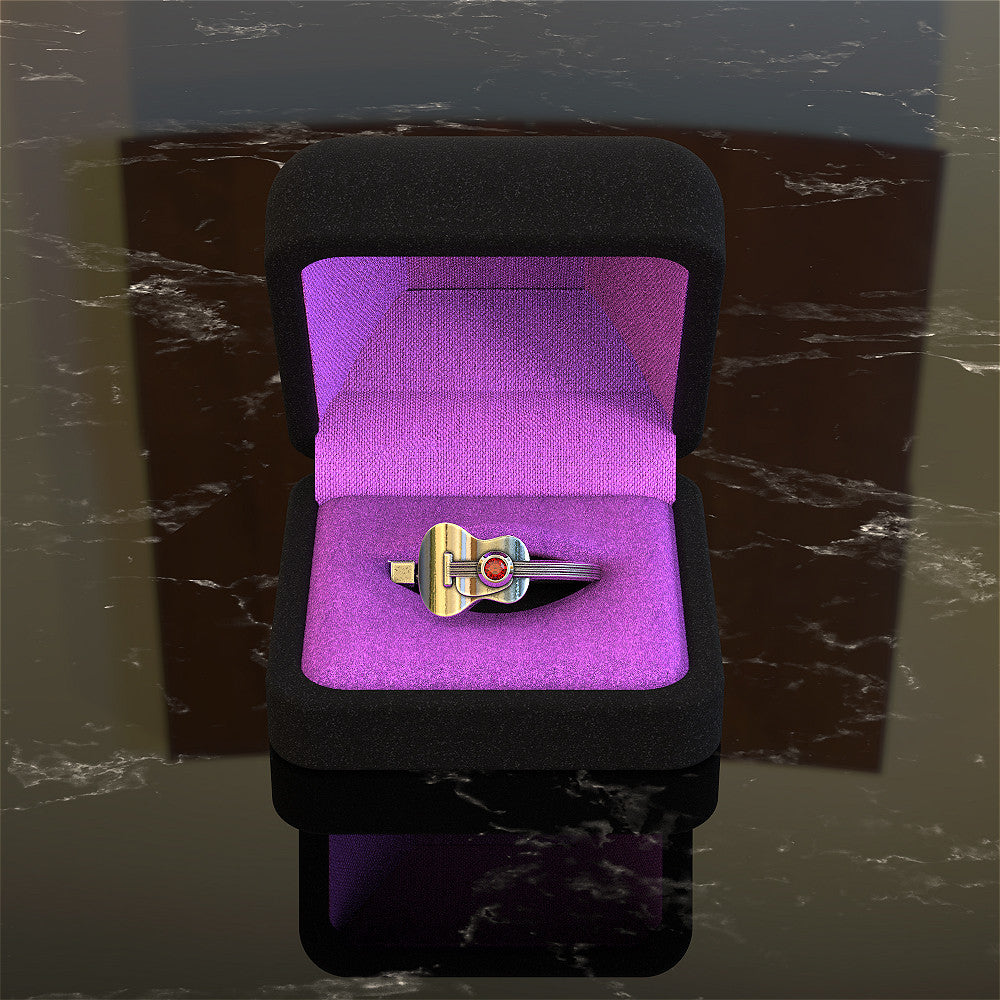 Guitar Ring with Birthstones
