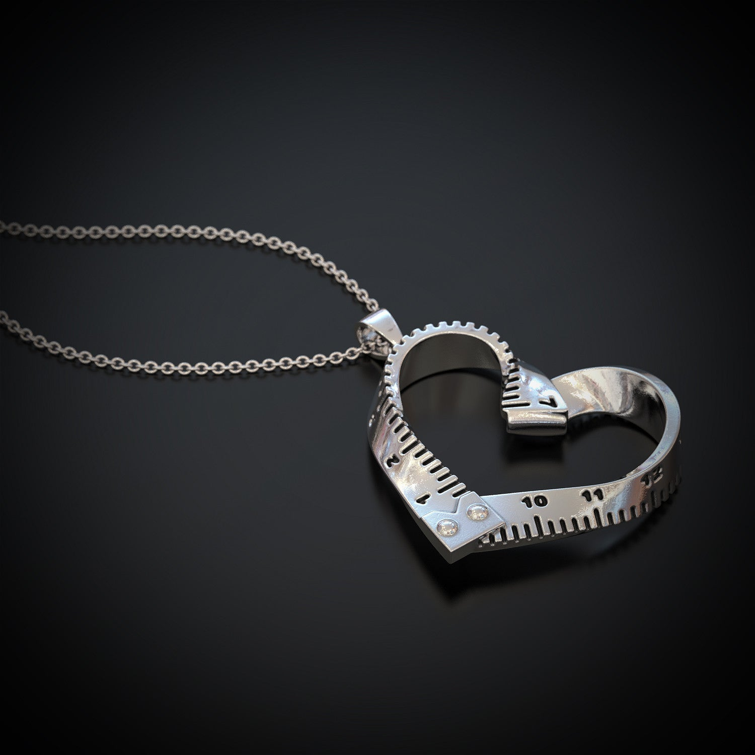 Measuring Tape Heart Necklace