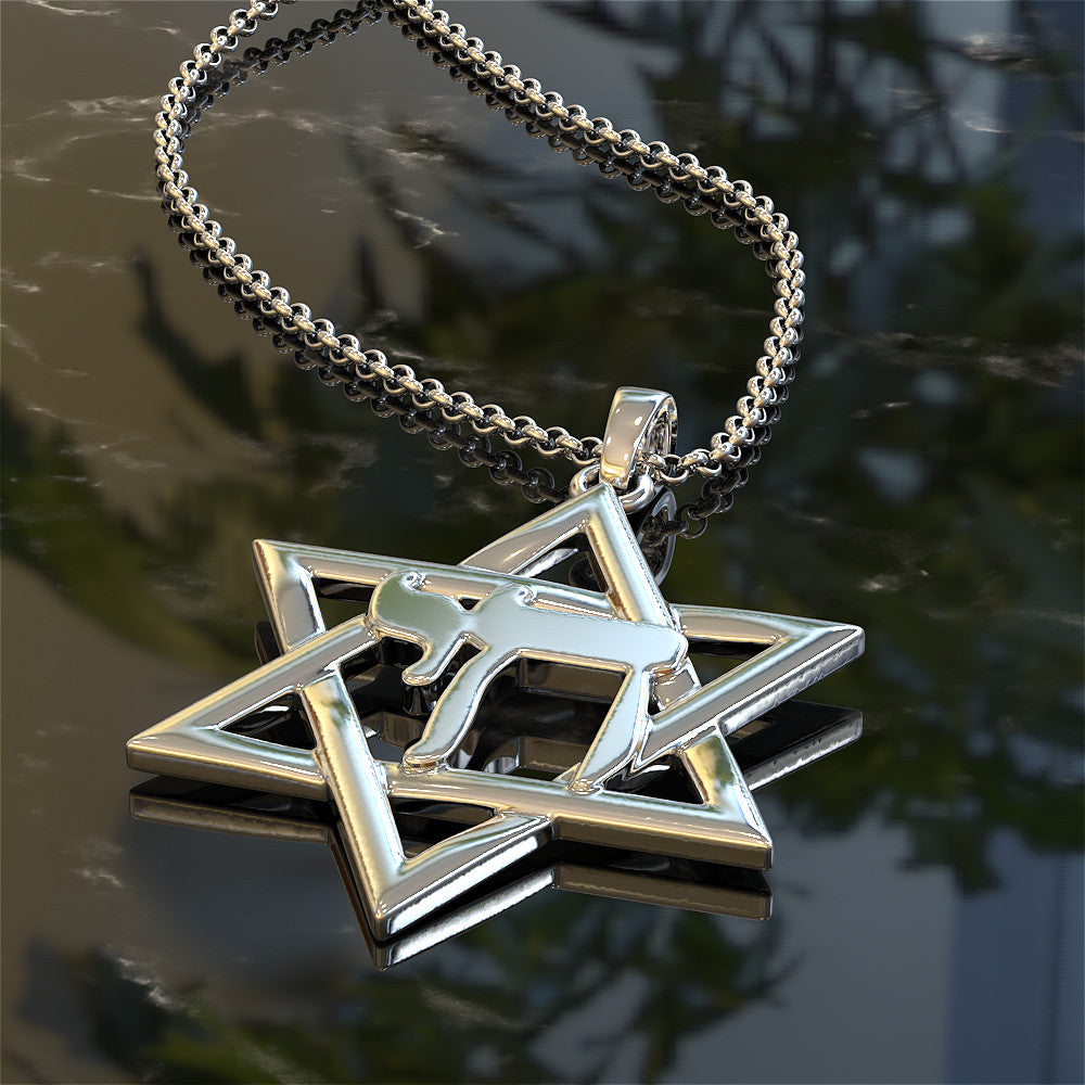 Star Of David With Chai Symbol Necklace Shineon
