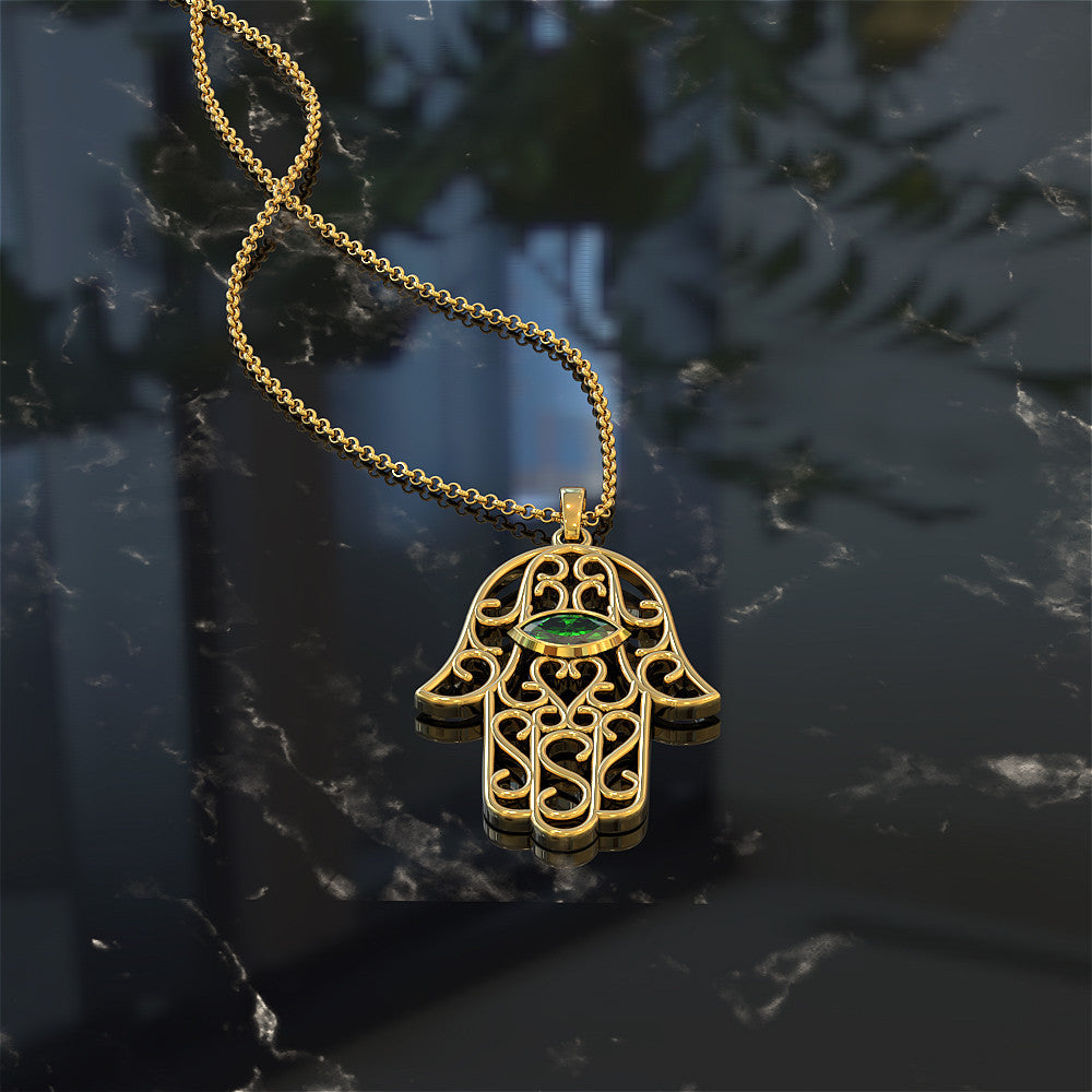 Hamsa Eye Necklace - Choose Your Birthstone