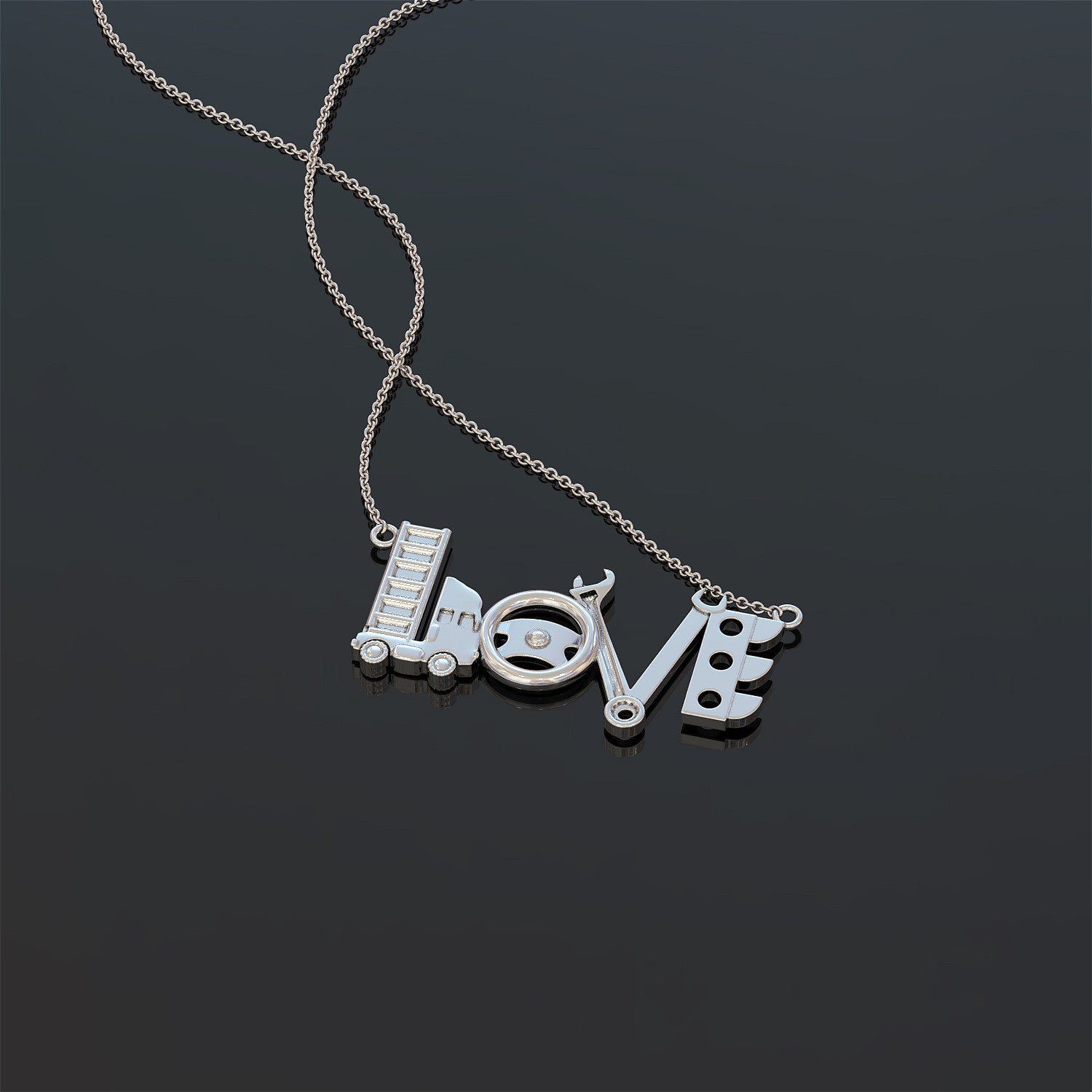 Truck Driver LOVE Pendant Necklace