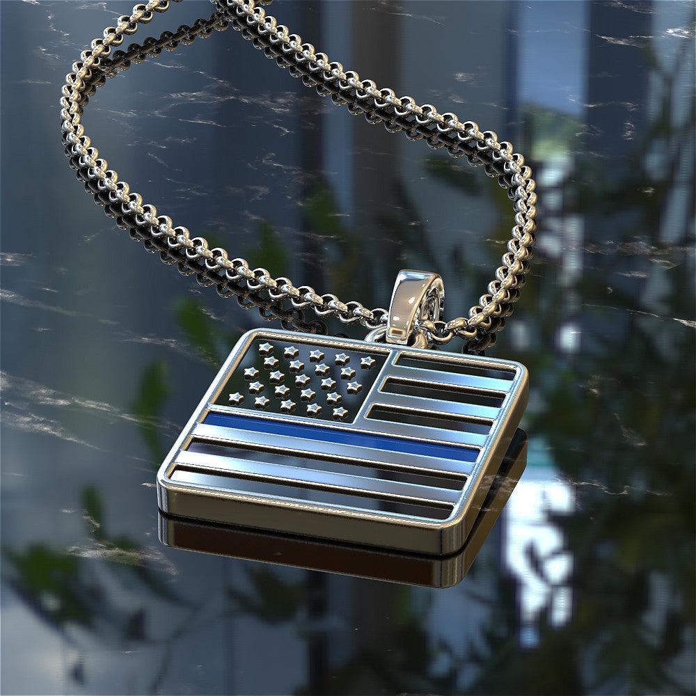 Thin Blue Line Flag Necklace