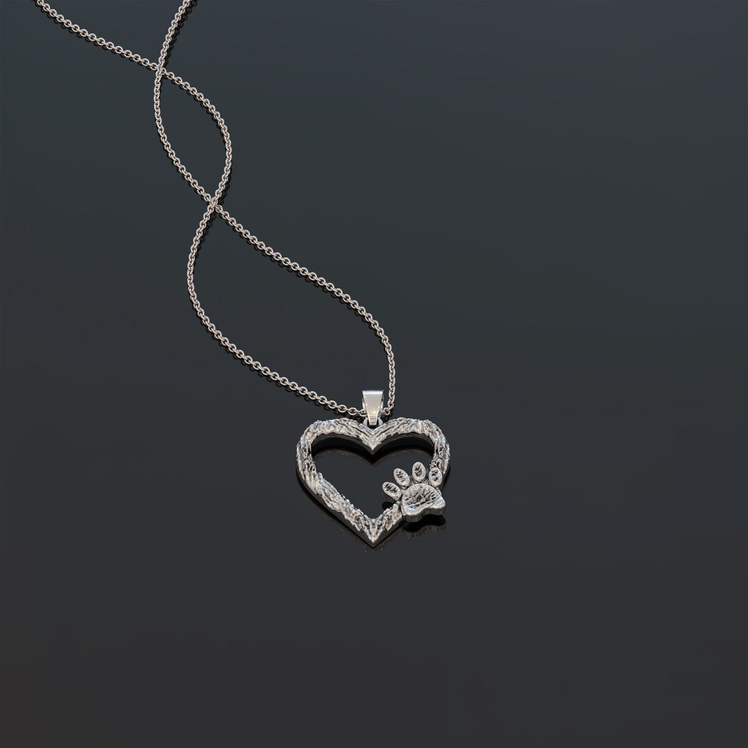 Puppy Paw Heart Necklace