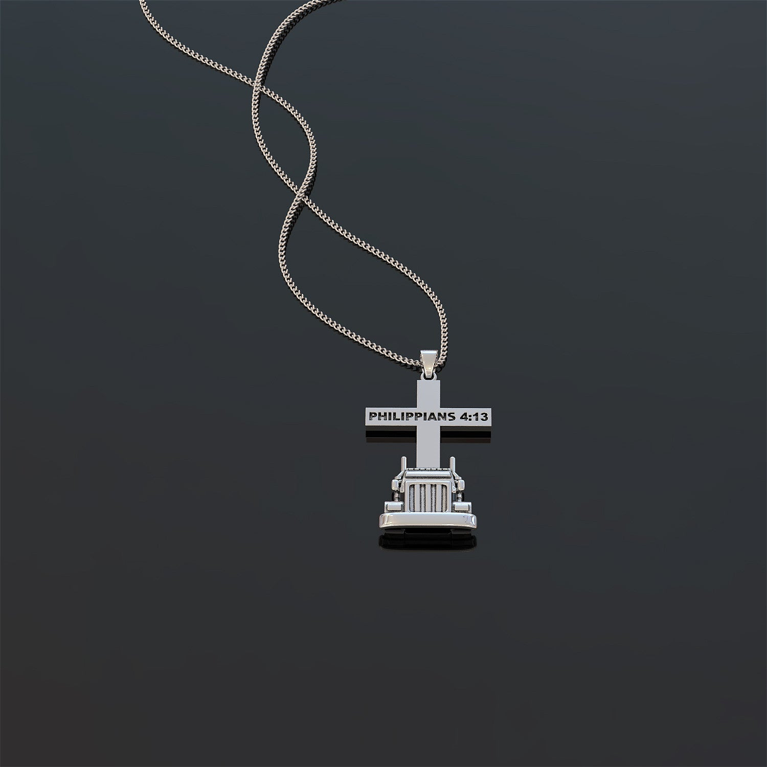 Trucker All Things Through Christ Necklace