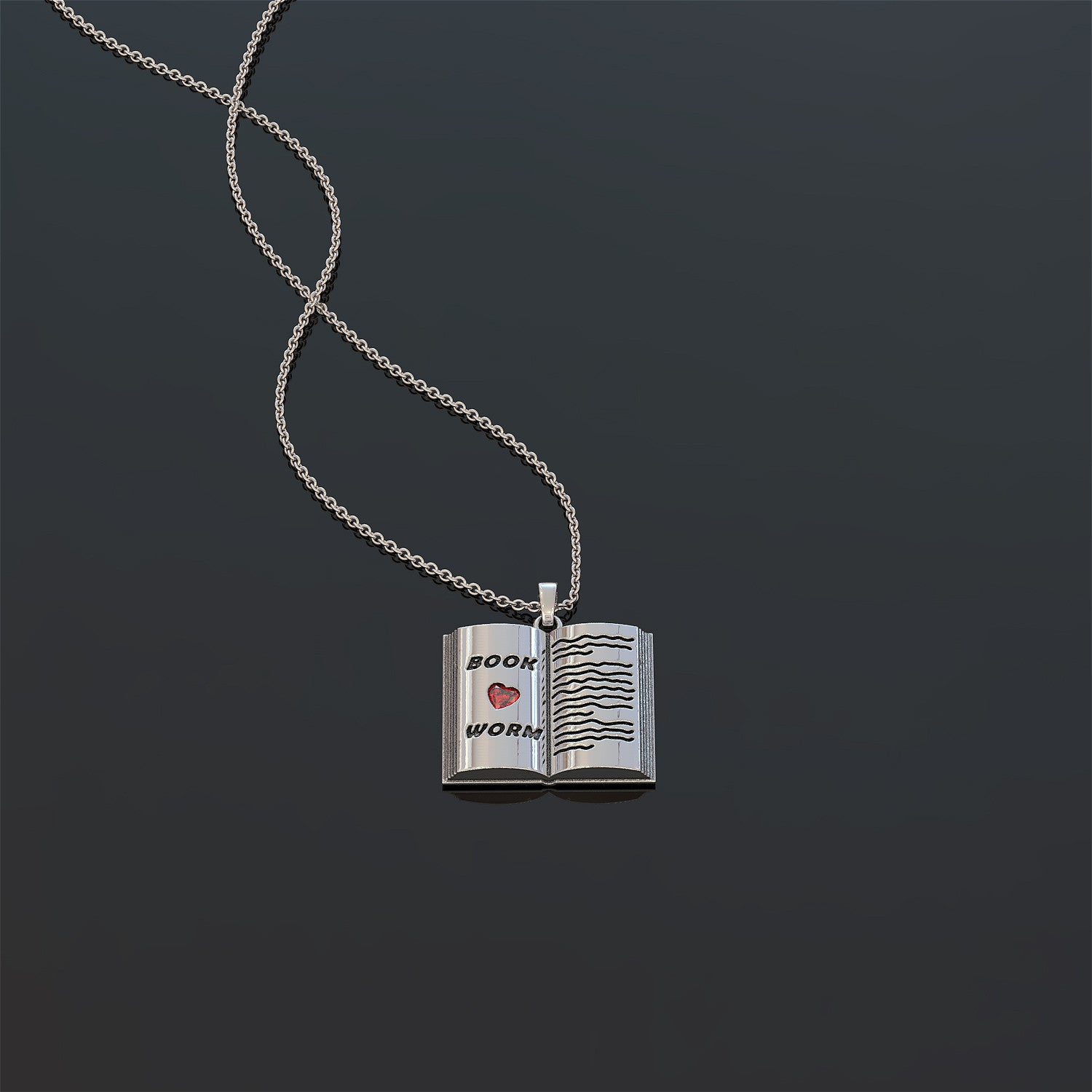 Book Worm Pendant Necklace