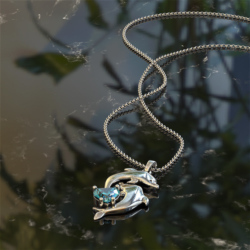Dolphin Charm with Birthstone