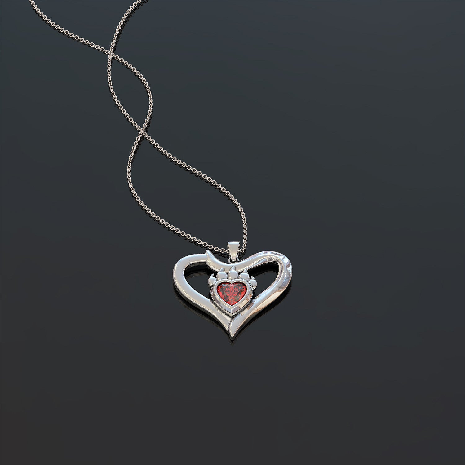 The Mama Bear Birthstone Heart Pendant