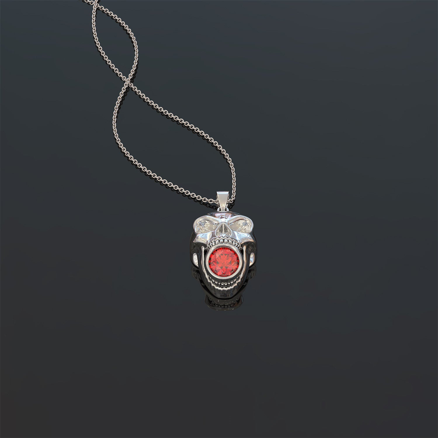 Skull Eating BirthStone Necklace
