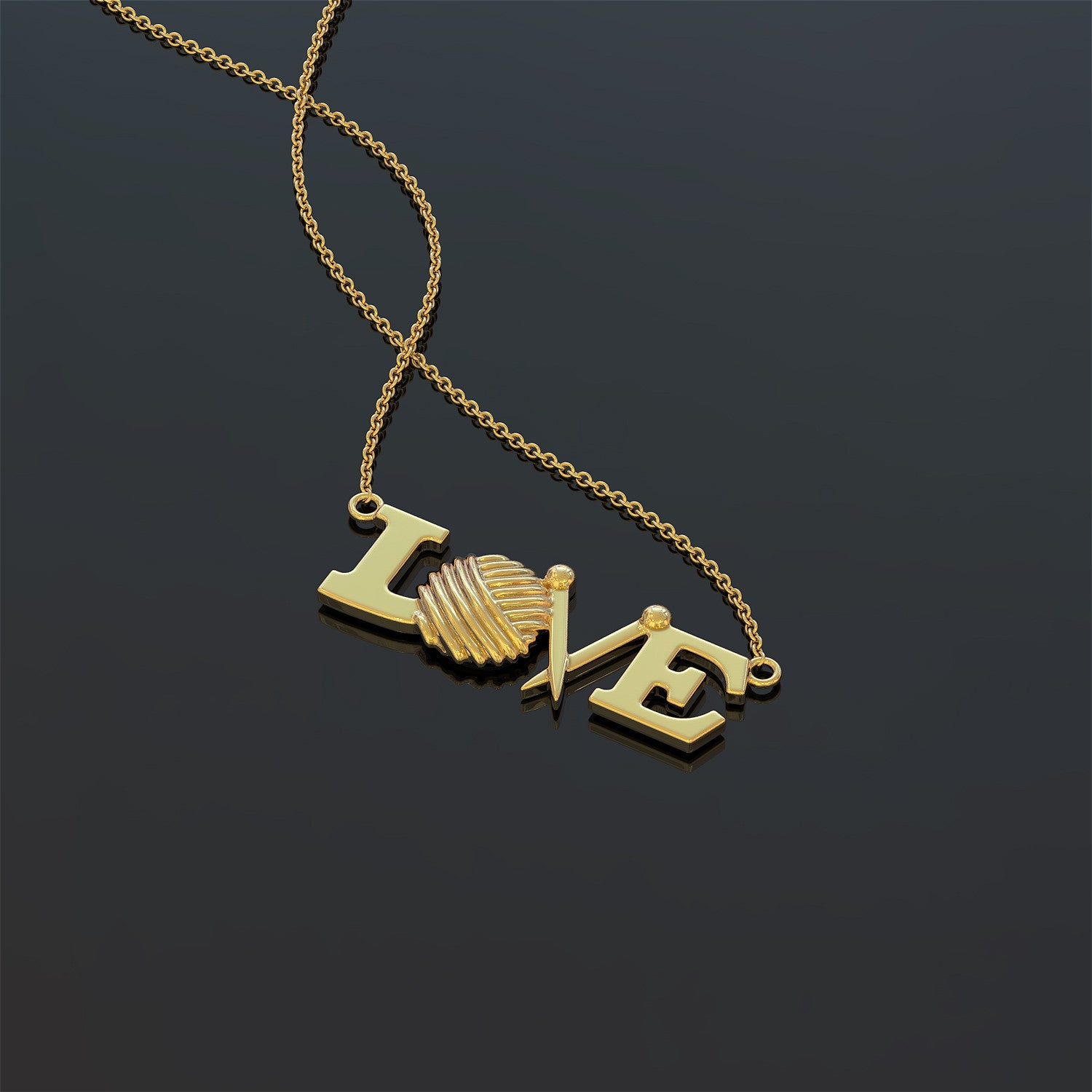 Love Knitting Necklace