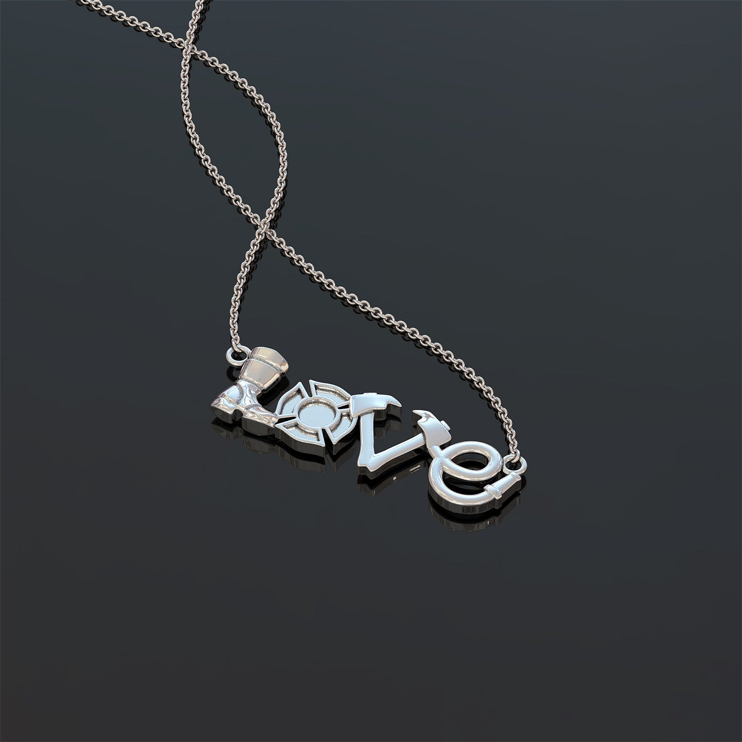 Firefighter Love Pendant Necklace