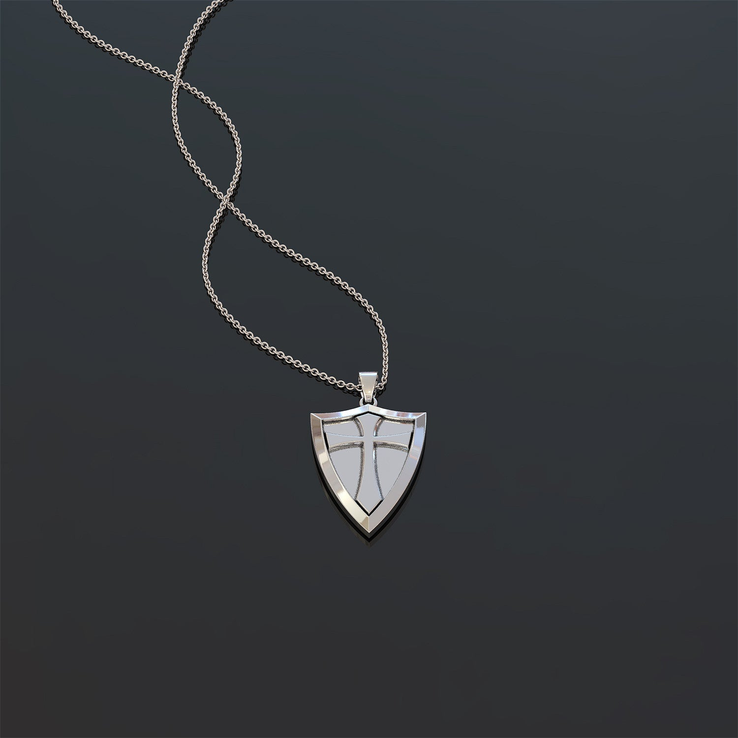 Crusader Cross Shield Pendant Necklace