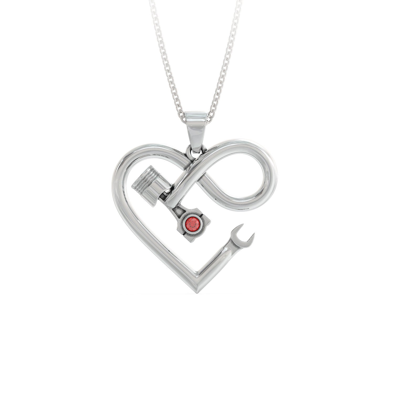 Piston Infinity Birthstone Necklace