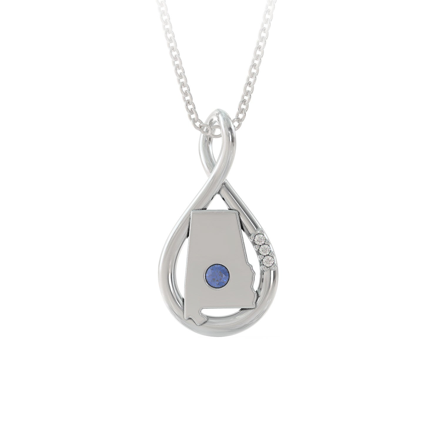 Alabama Caperci Sterling Silver Created Diamond Accent Infinity Pendant Necklace
