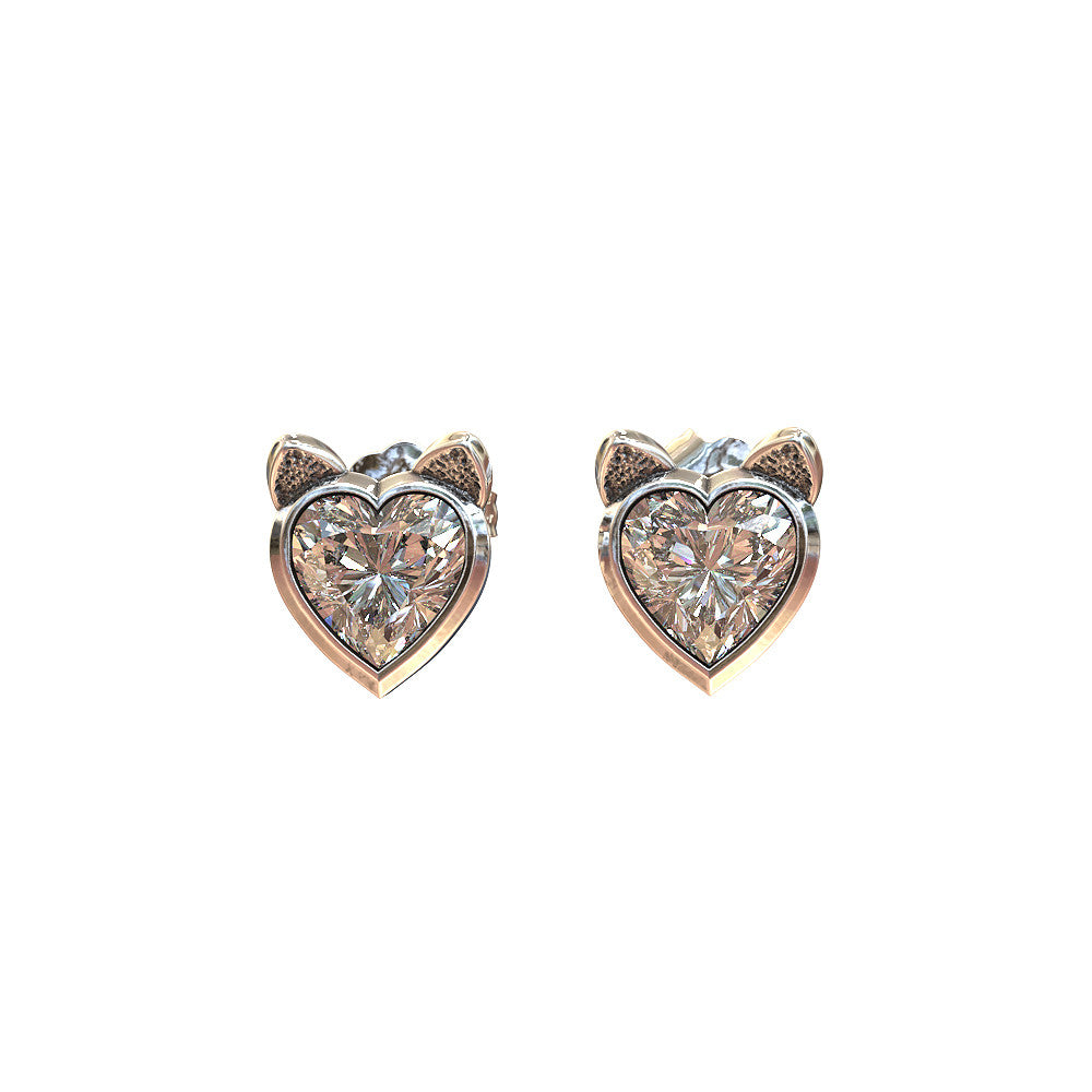 Cat Ears and Heart Earrings